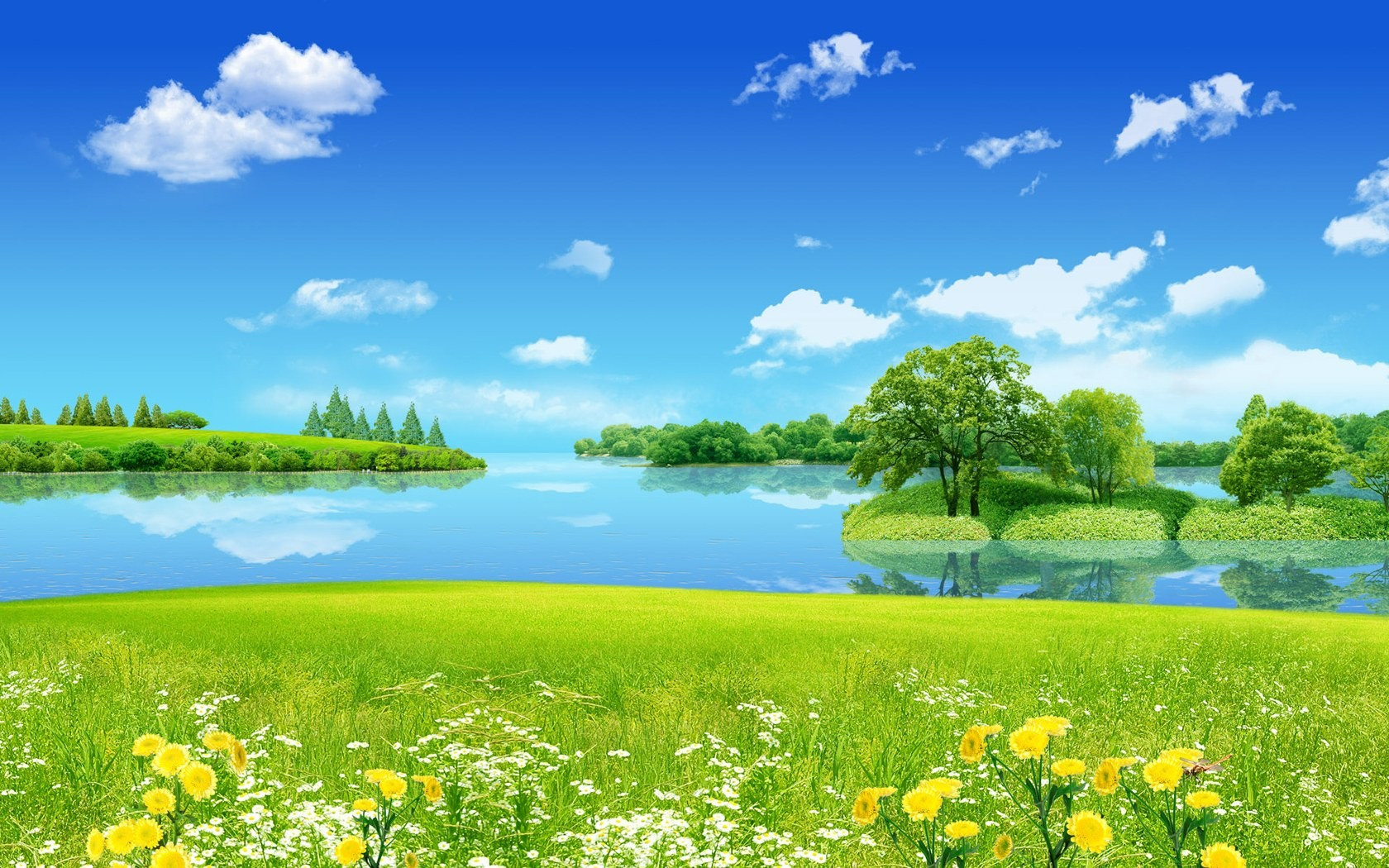 Summer landscape of lake and grass wallpaper