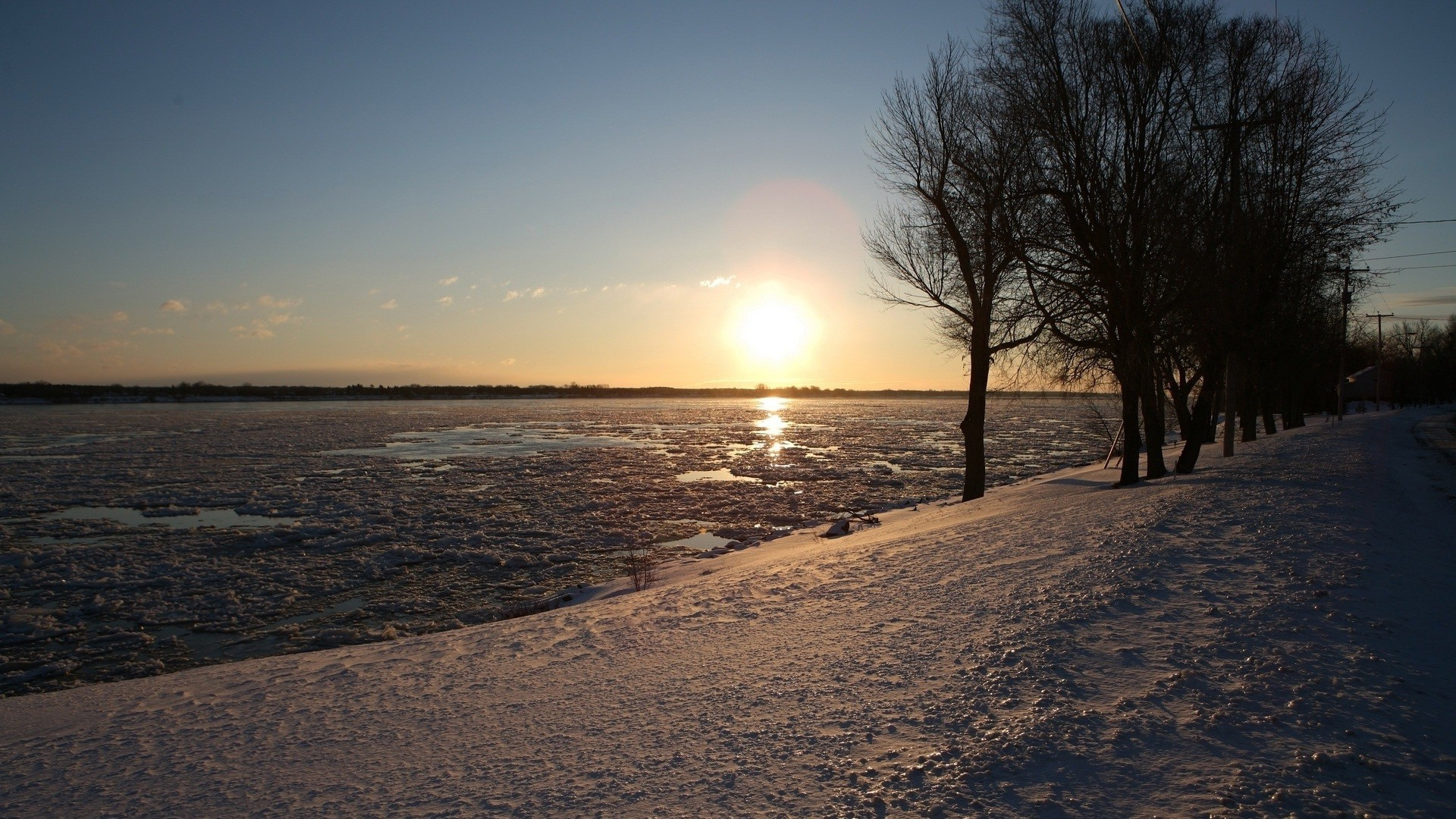 Sunset over the winter lake