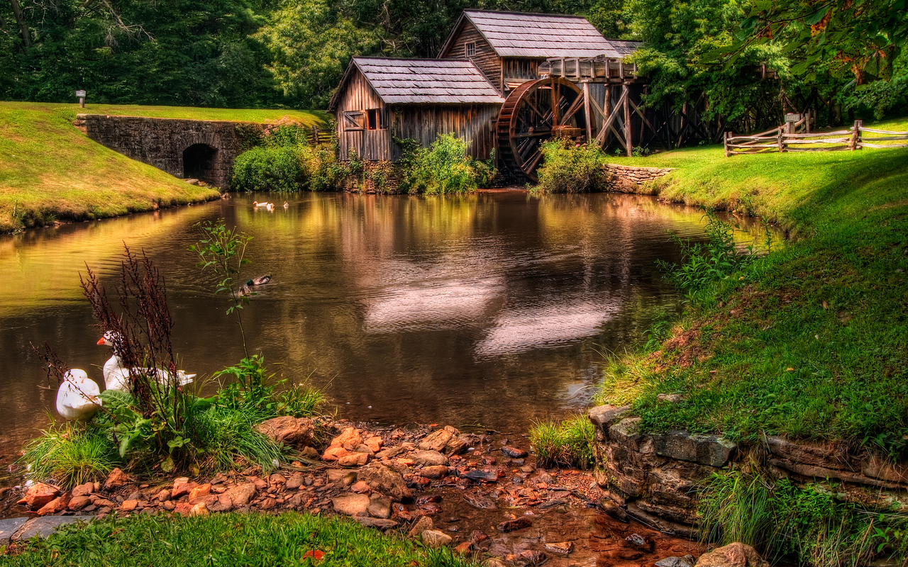 Water mill and a small dam