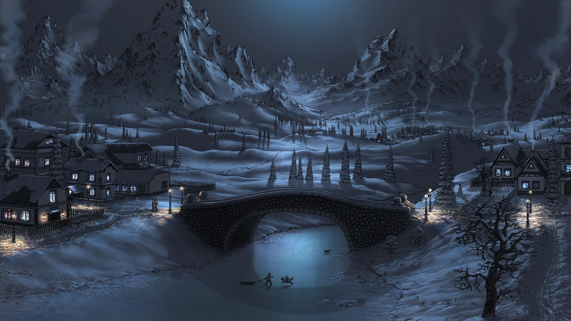 A beautiful work of art - the snow-covered town in the mountains