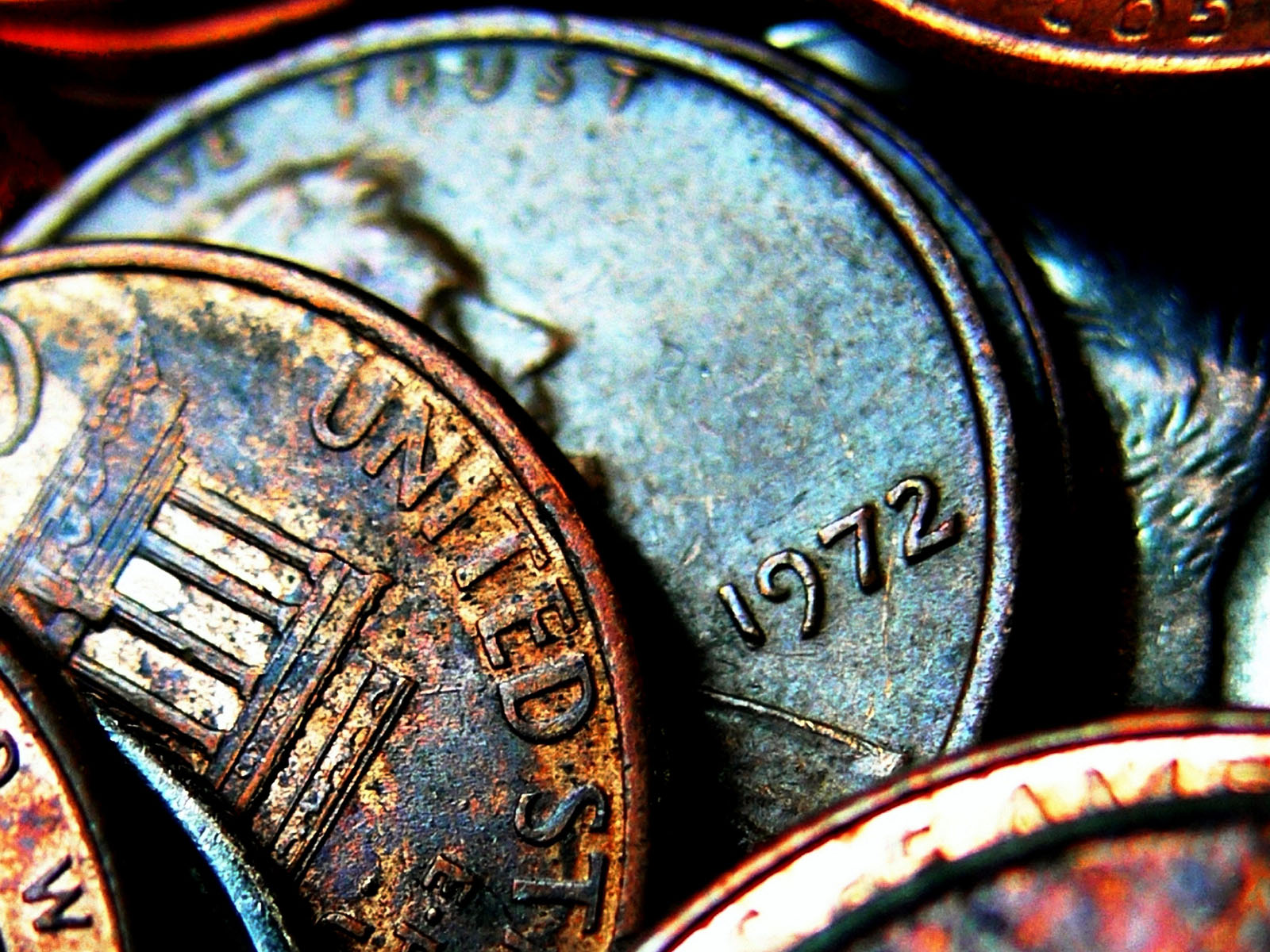A collection of rusty coins USA - background for your stla for this collector coin