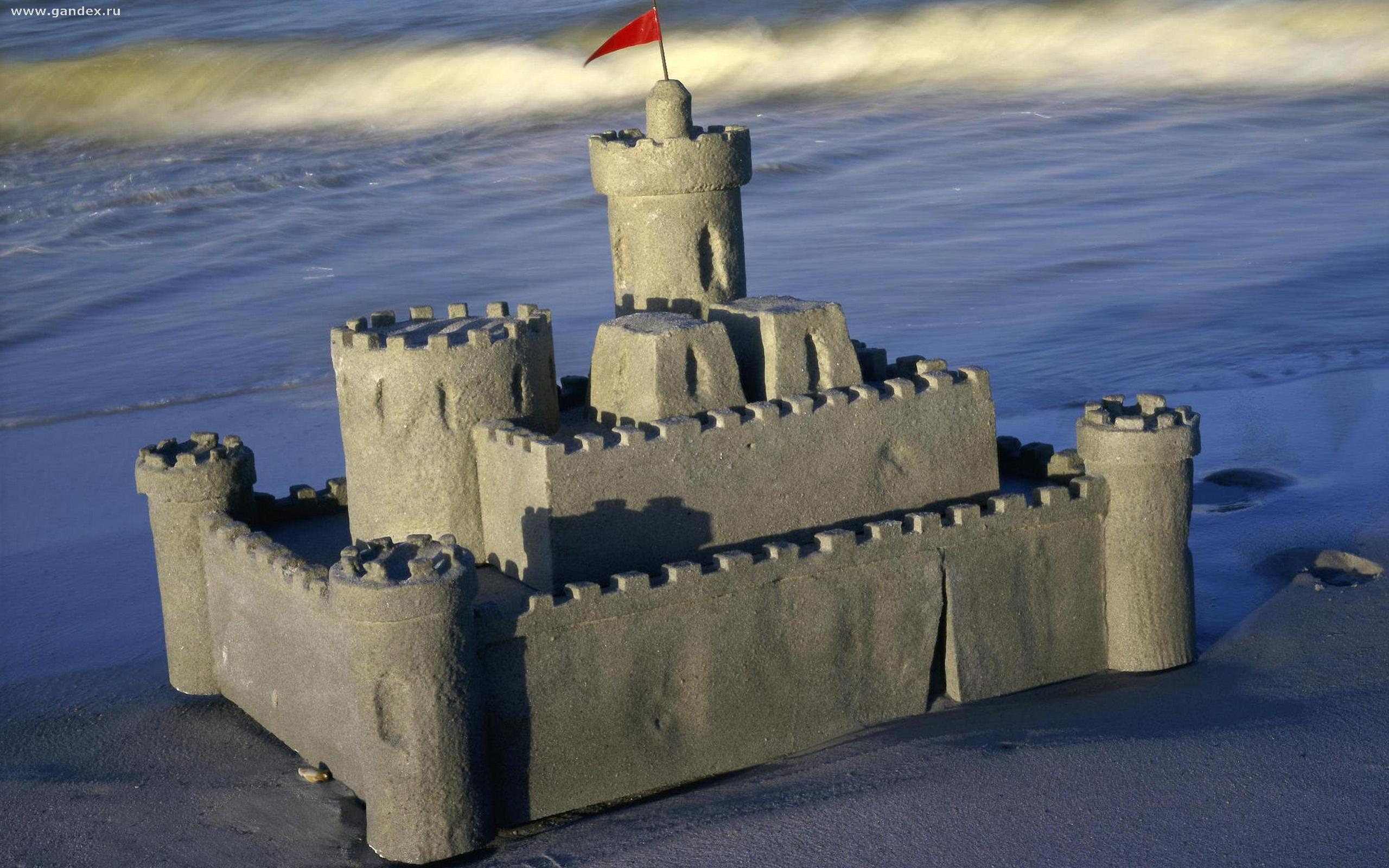 A day at the beach, widescreen wallpaper, sand castle