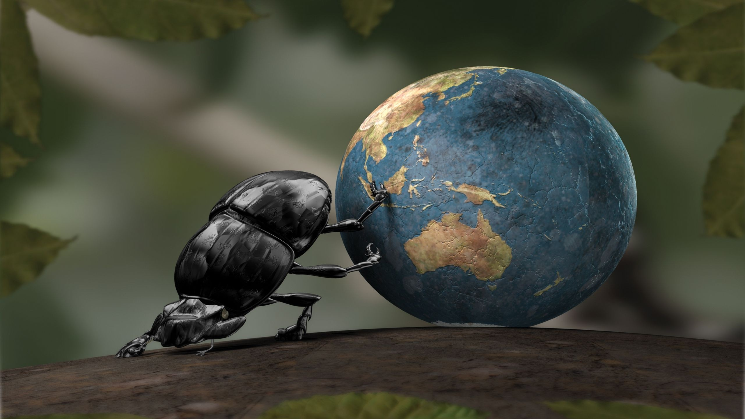Beetle rolls the globe