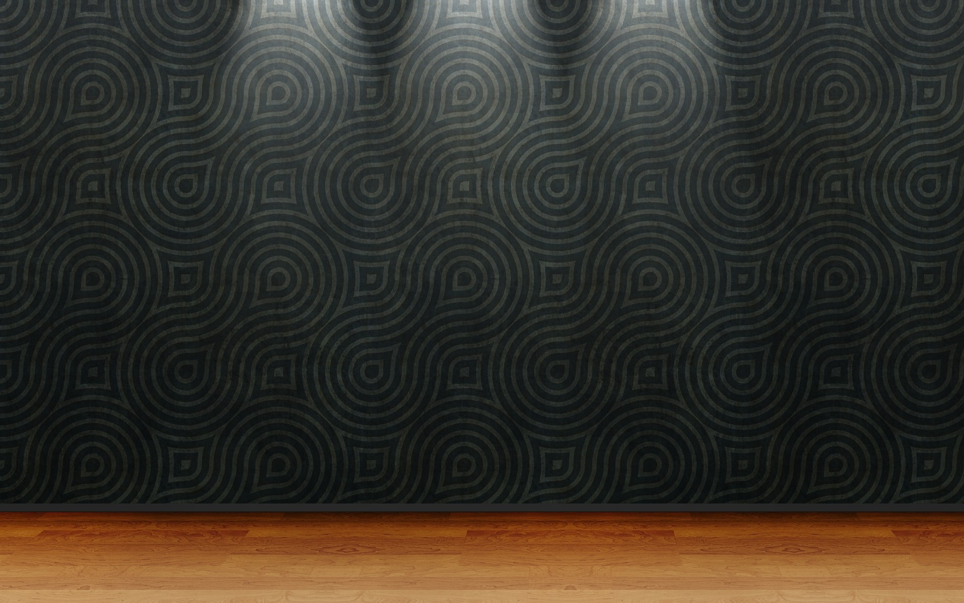Black wallpaper with abstract patterns and flooring