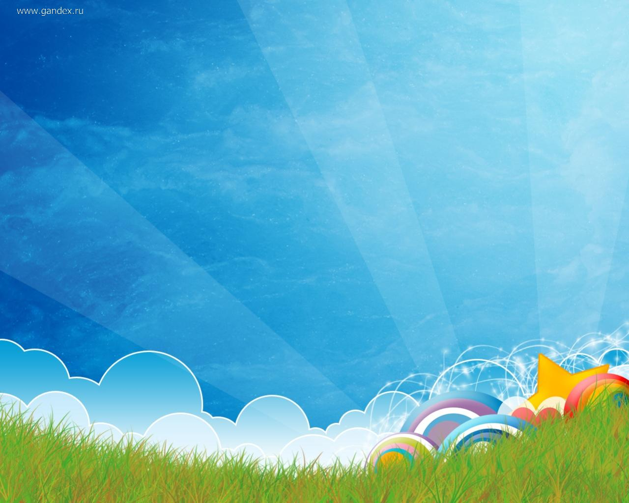 Bright vector image - sky, grass and a variety of shapes.