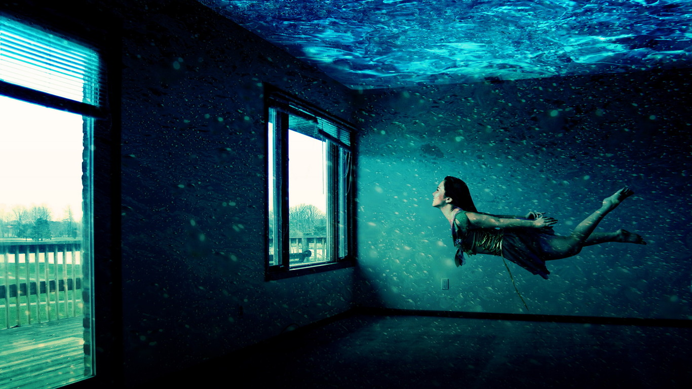girl under the water in the apartment, wallpaper
