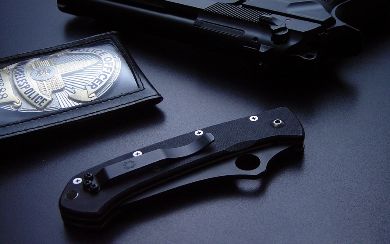 Gun Knife police badge
