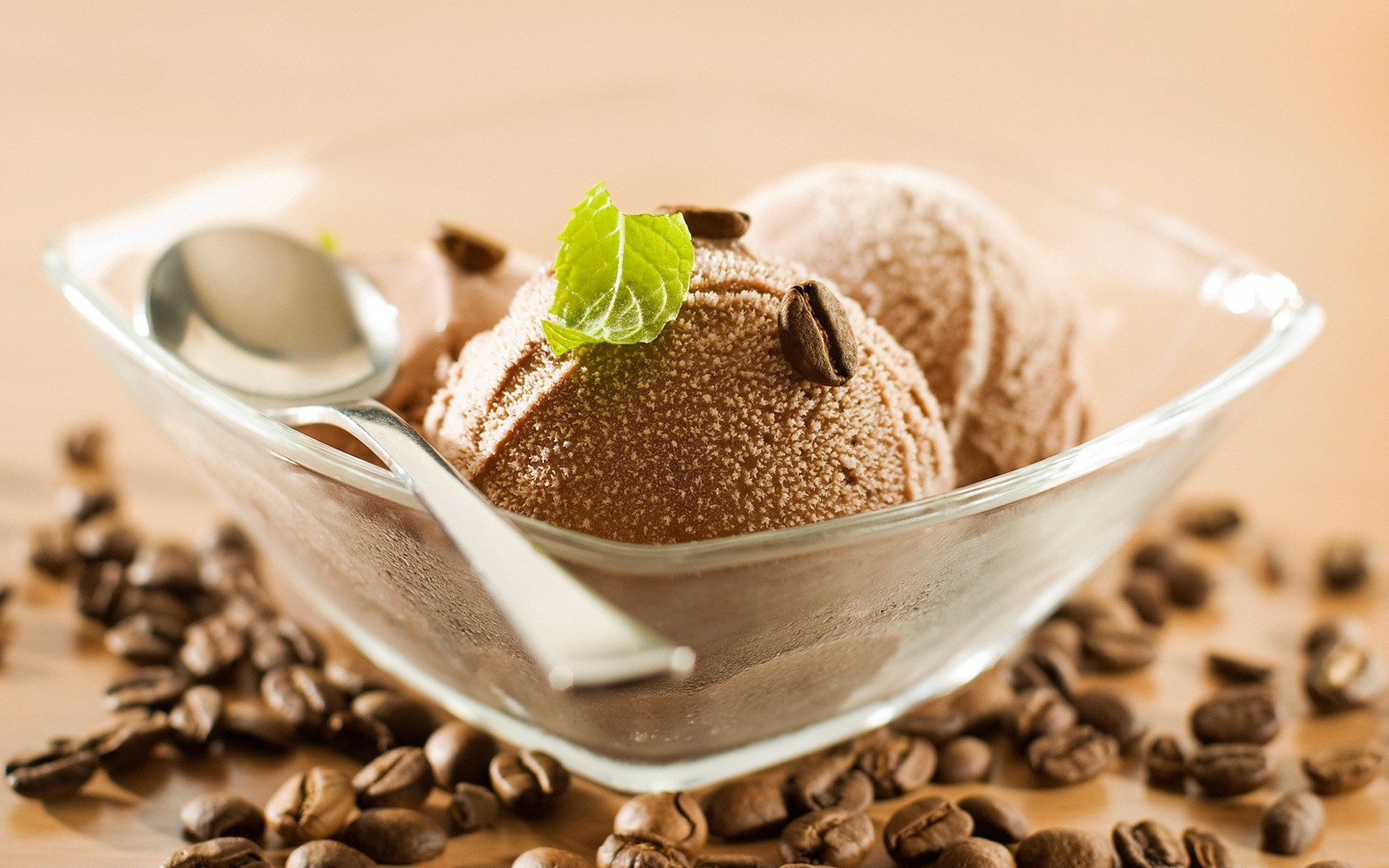 Ice cream with coffee beans