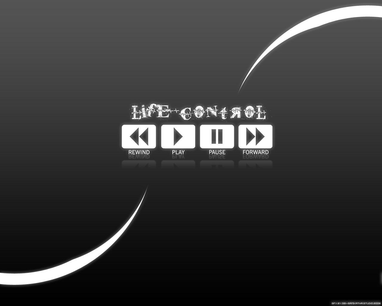 Life Control - wallpaper, black and white, the player control buttons