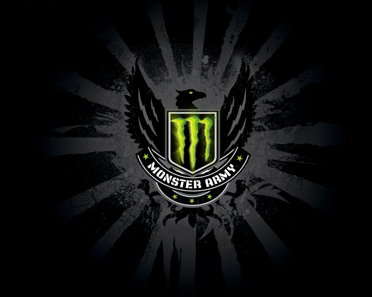 Monster Army logo with a black eagle