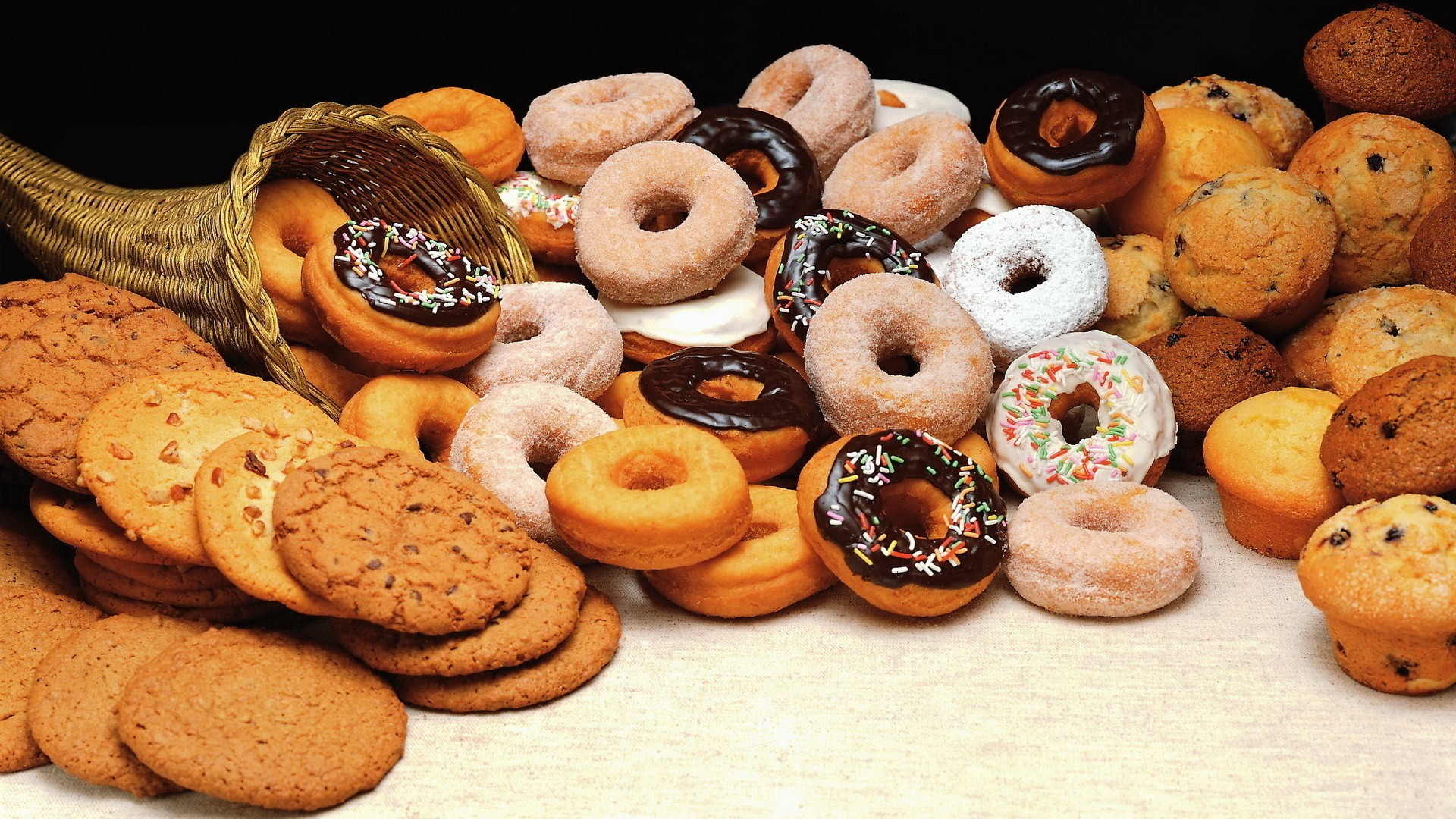 Mountain donuts, pastries and muffins