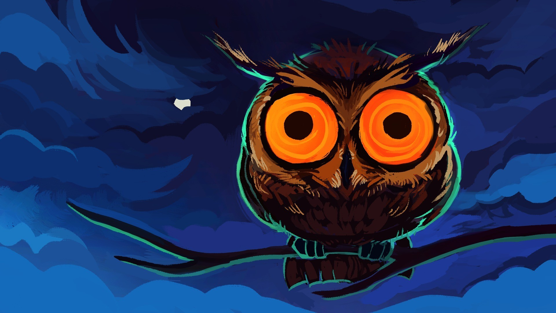 Painted owl with round eyes