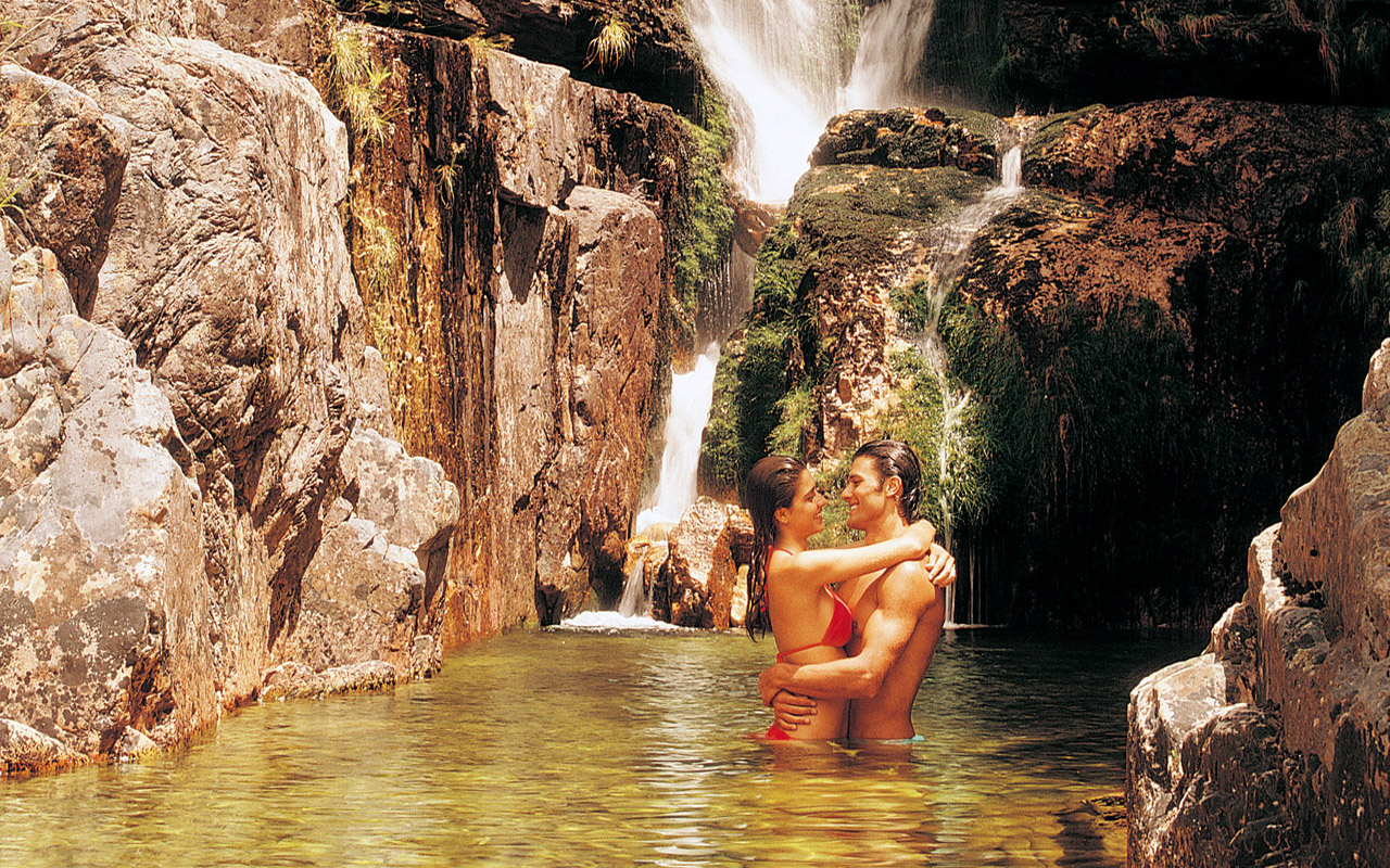 Relax by the waterfall