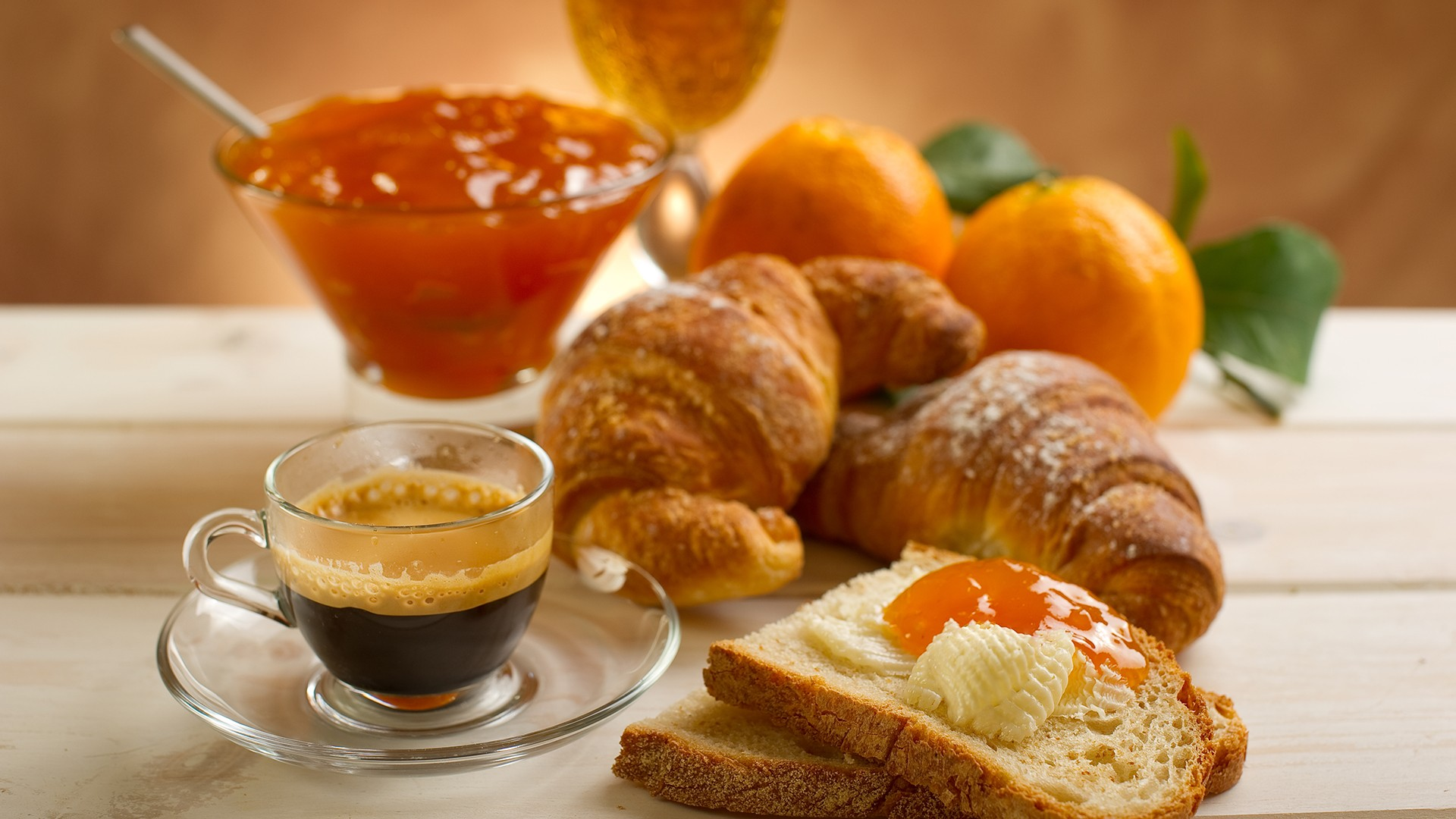 Sandwiches with apricot jam and coffee