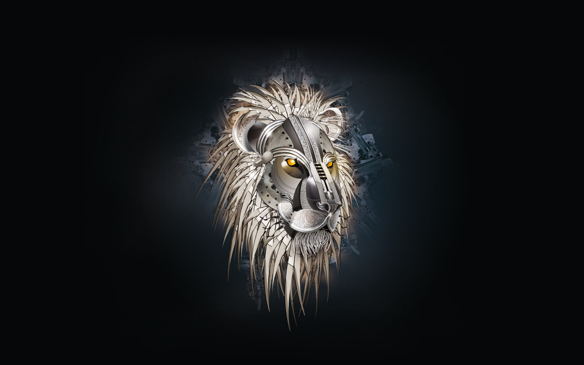 Steel lion against a dark background, are quite good wallpapers are also included in my collection