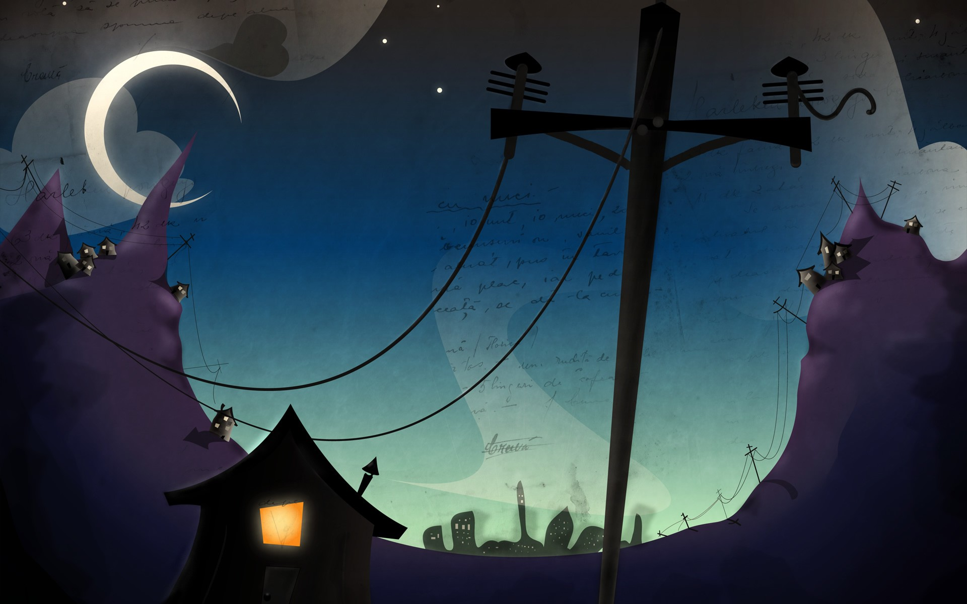 Stylish creative wallpaper with houses, hills and the moon