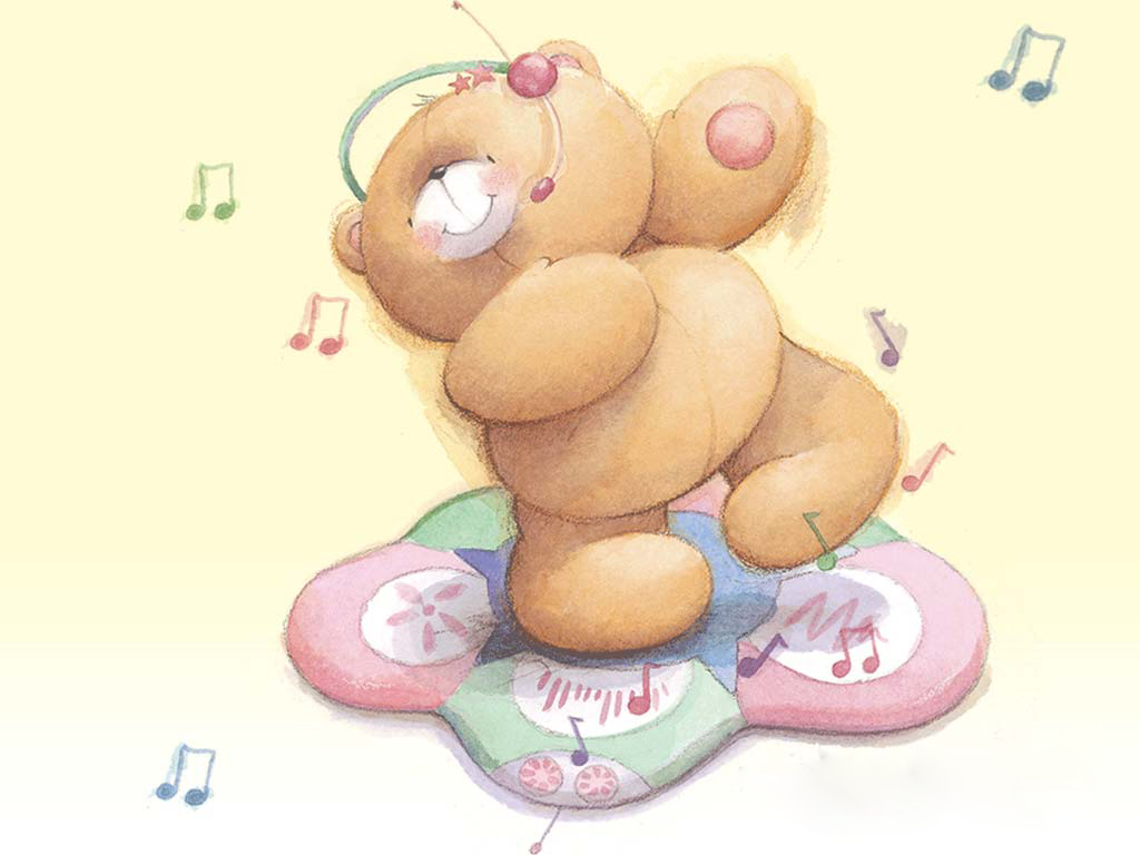 Teddy bear listening to music