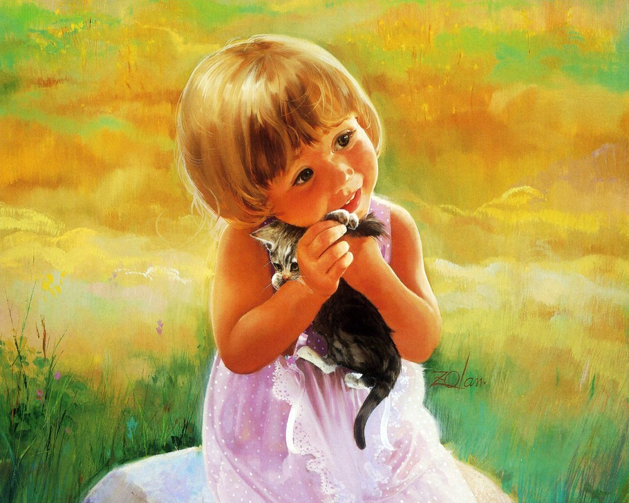 The girl and kitten