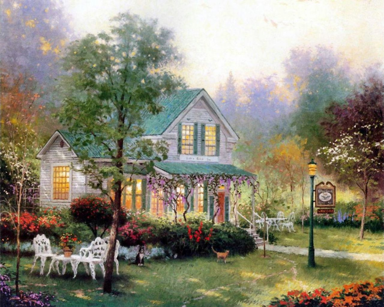 Thomas Kinkade - a beautiful garden and a summer house
