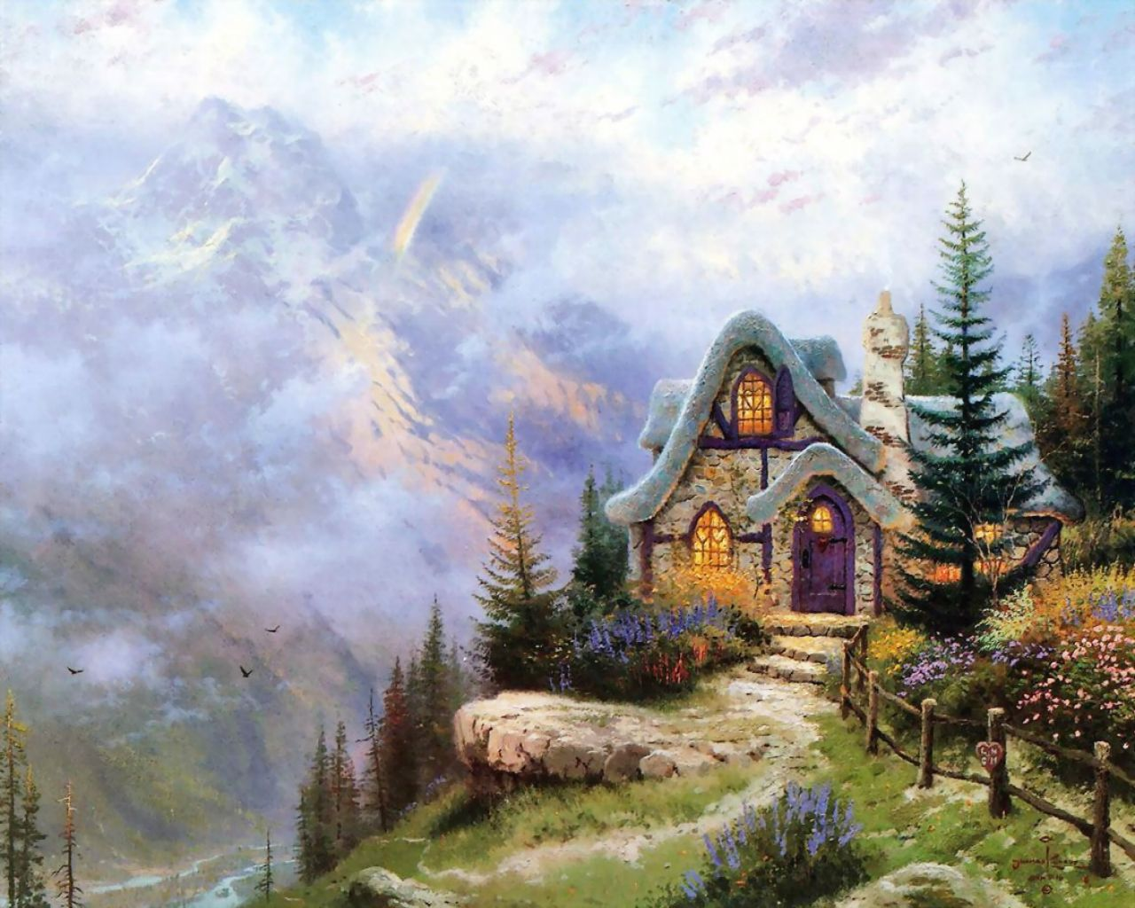 Thomas Kinkade - a house in the mountains