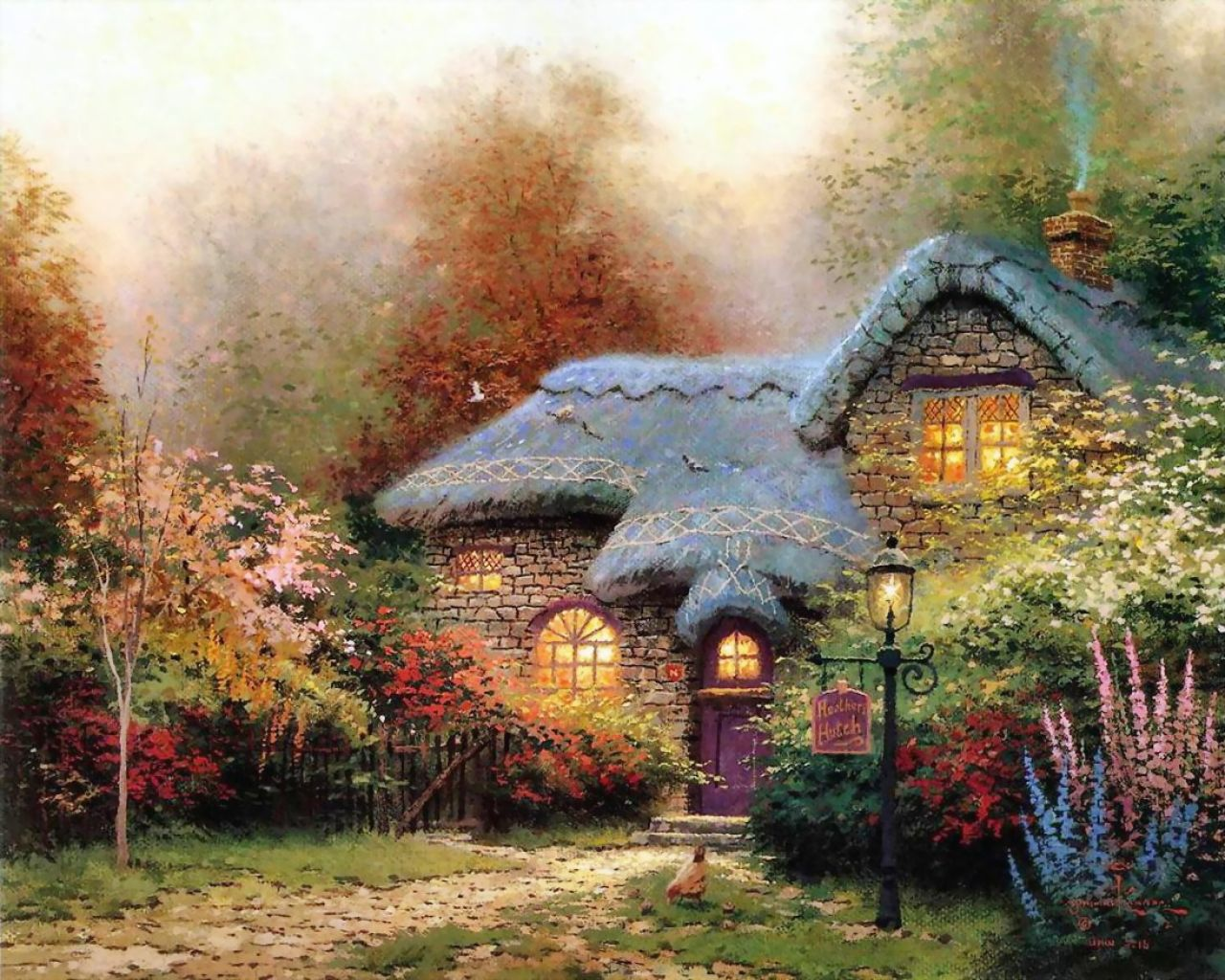Thomas Kinkade - a stone country house