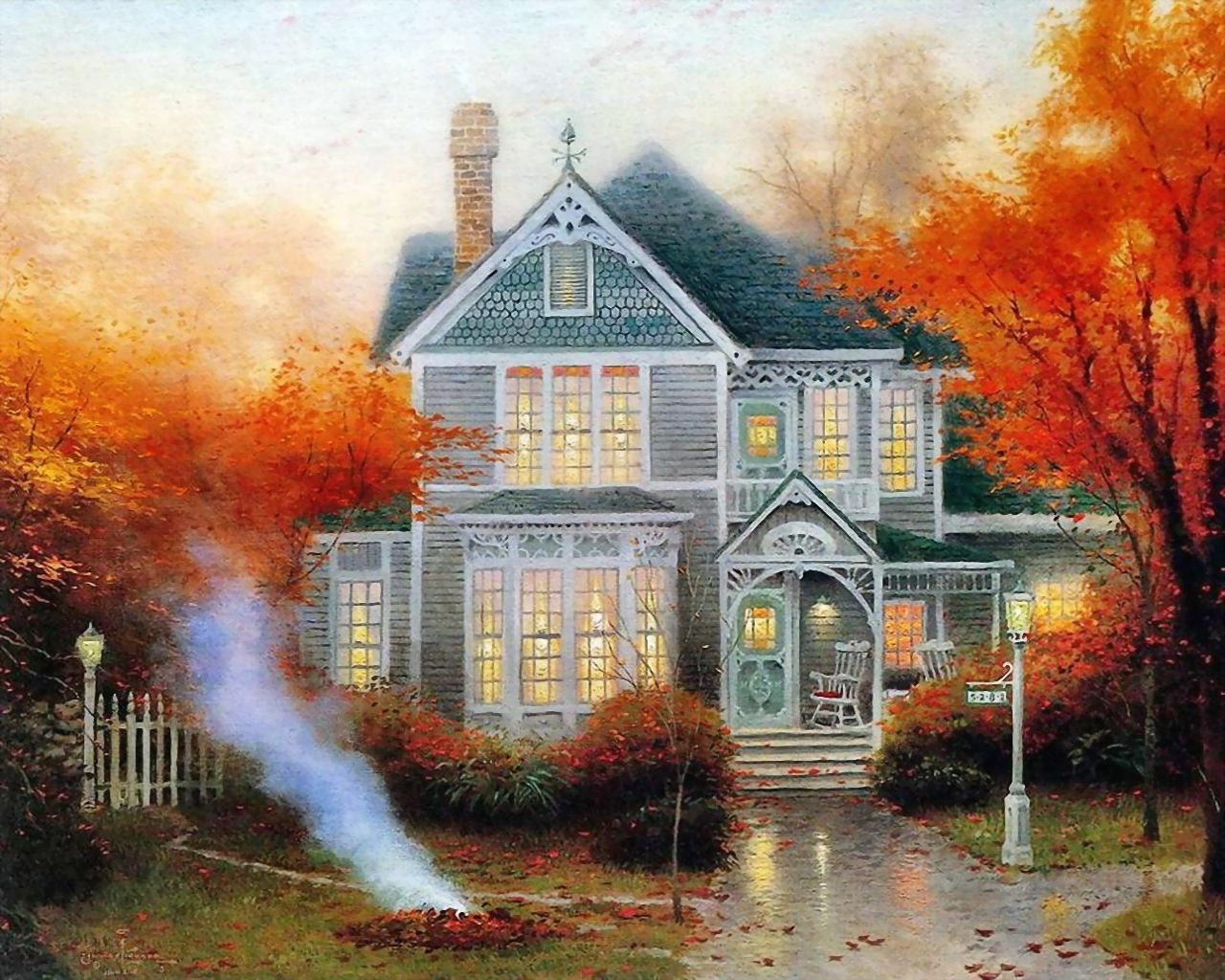 Thomas Kinkade - Autumn and country house