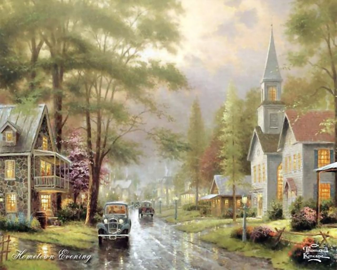 Thomas Kinkade - Evening street county town