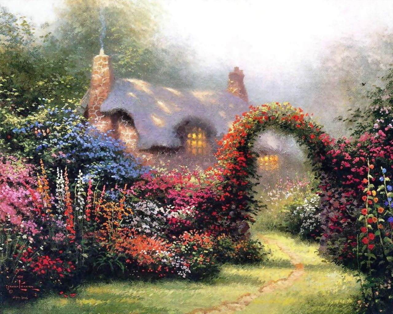 Thomas Kinkade - floral arch in a country cottage
