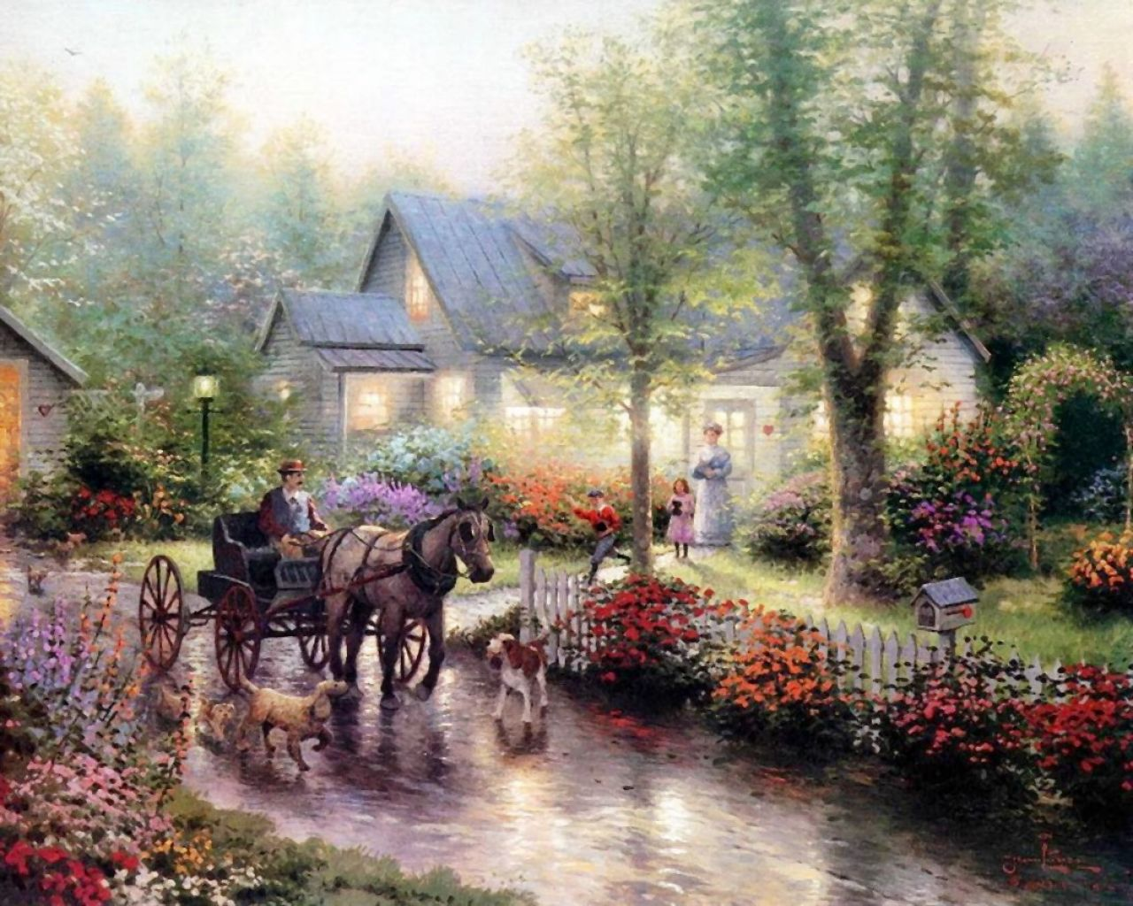 Thomas Kinkade - muzhichek on a cart, dogs, Delhi, and his wife, country house