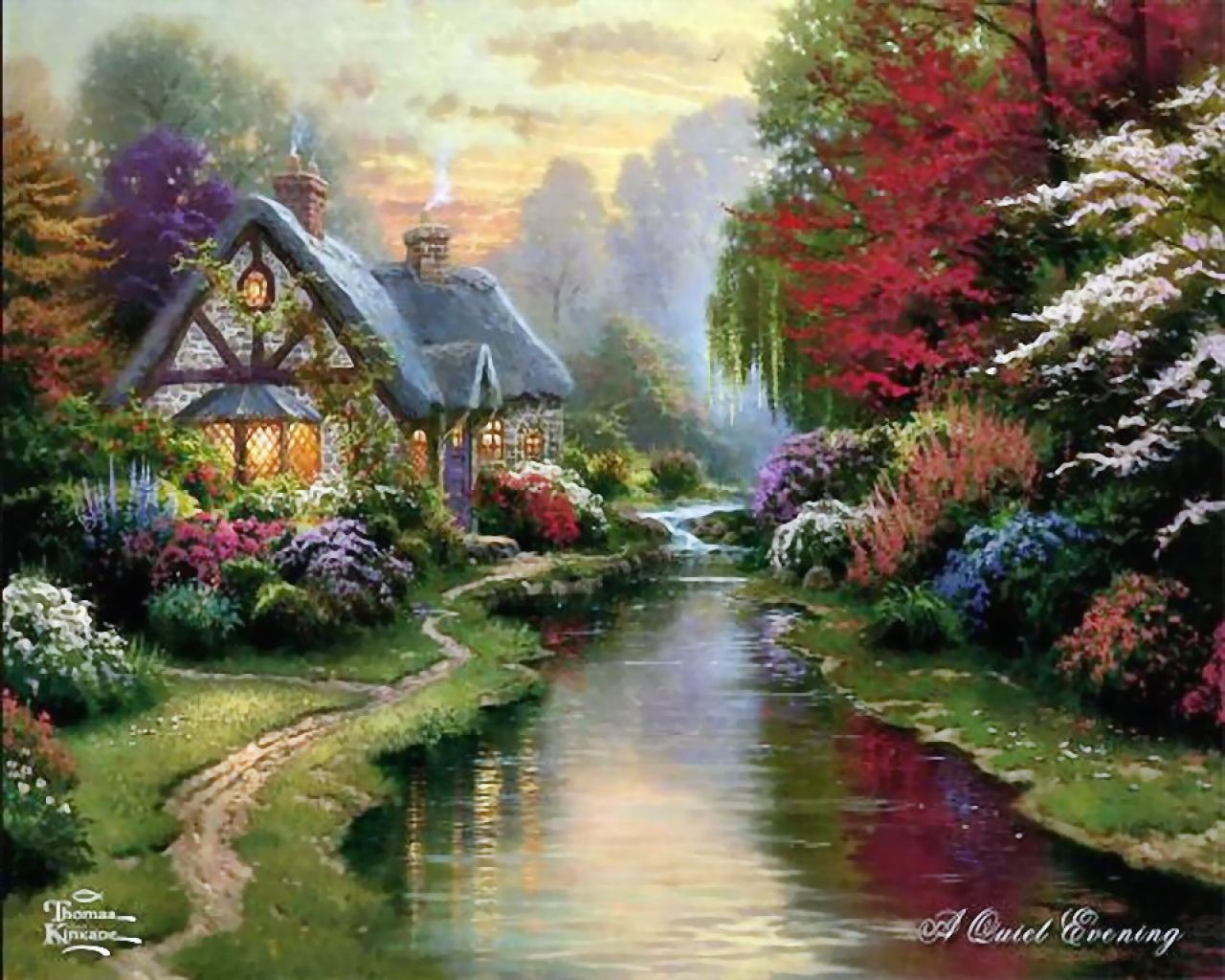 Thomas Kinkade old nature, the house and the river