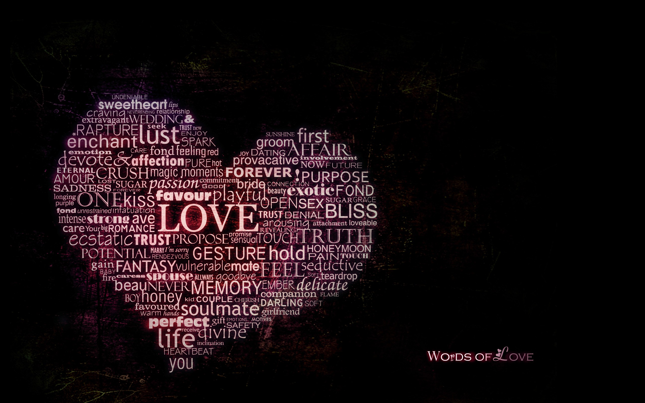 Words of love in the form of heart