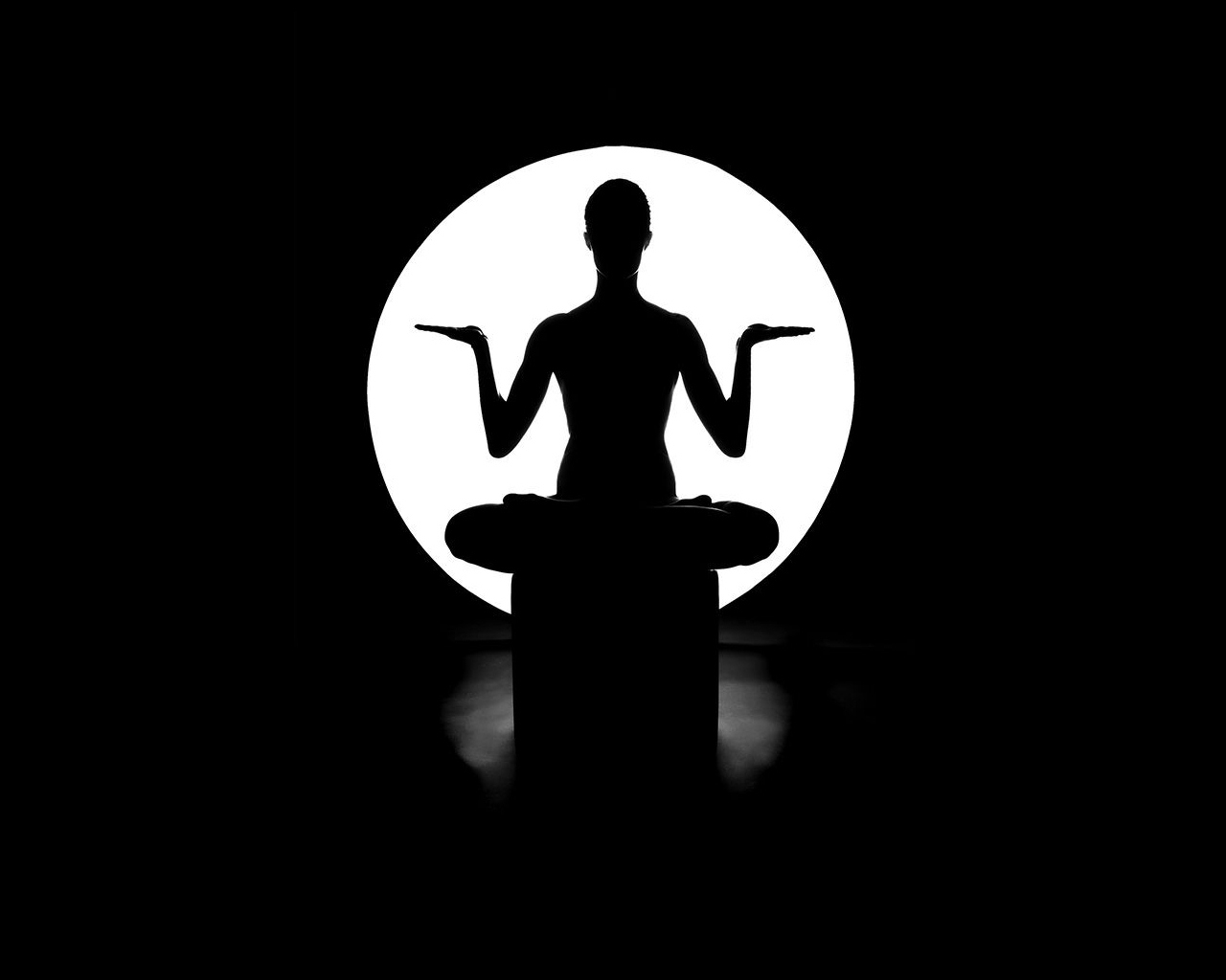 Yoga man in lotus pose - black and white wallpaper