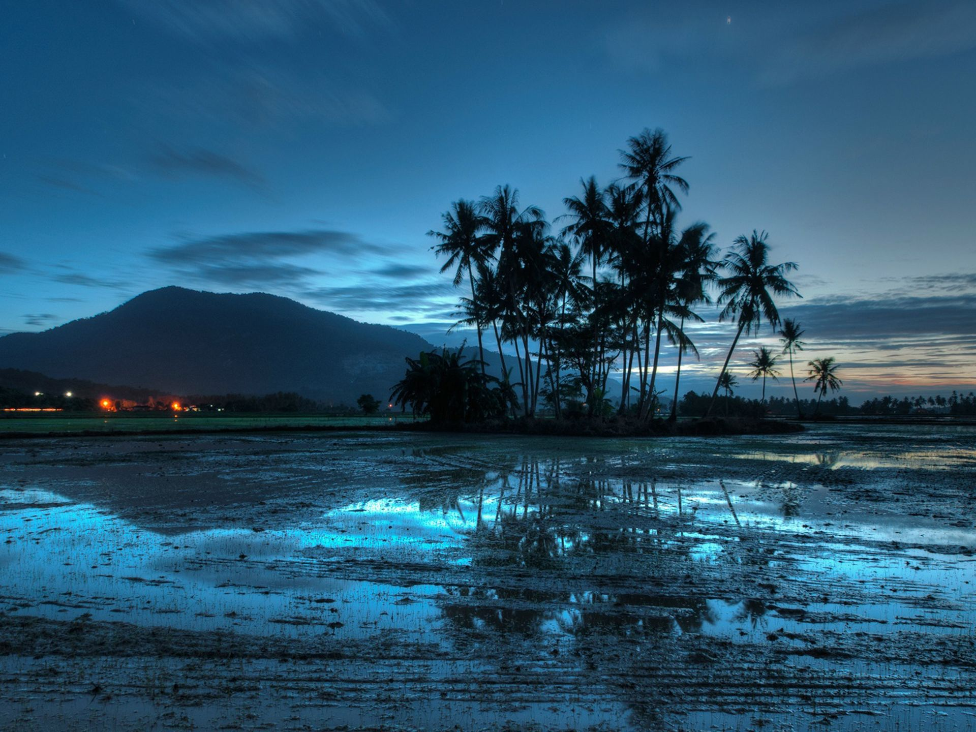 Evening beach at low tide
