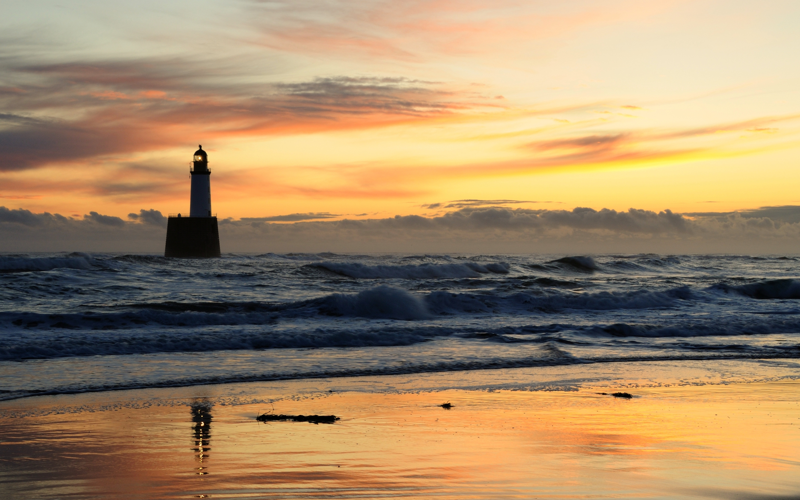 evening, lighthouse, sea, landscape