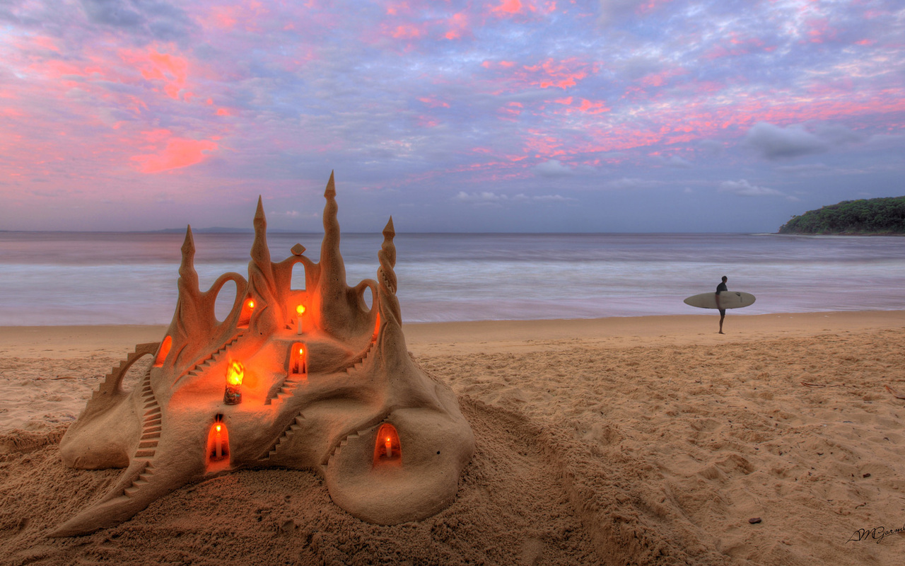 Sand castle glowing inside