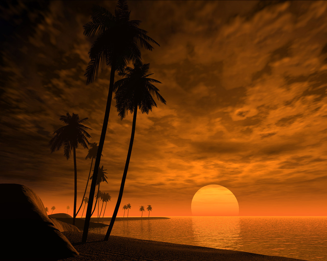Sunset, sea and palm trees - wallpaper