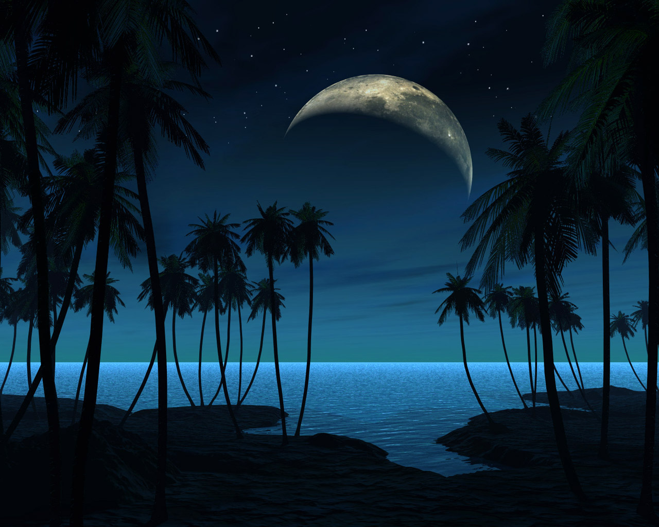 The sea, the night and the moon - background for your desktop