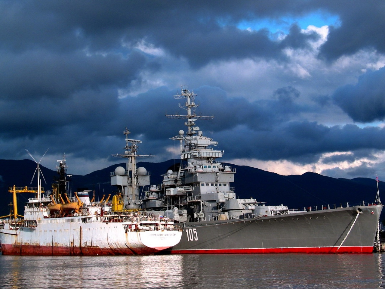 The Soviet military ship at the dock