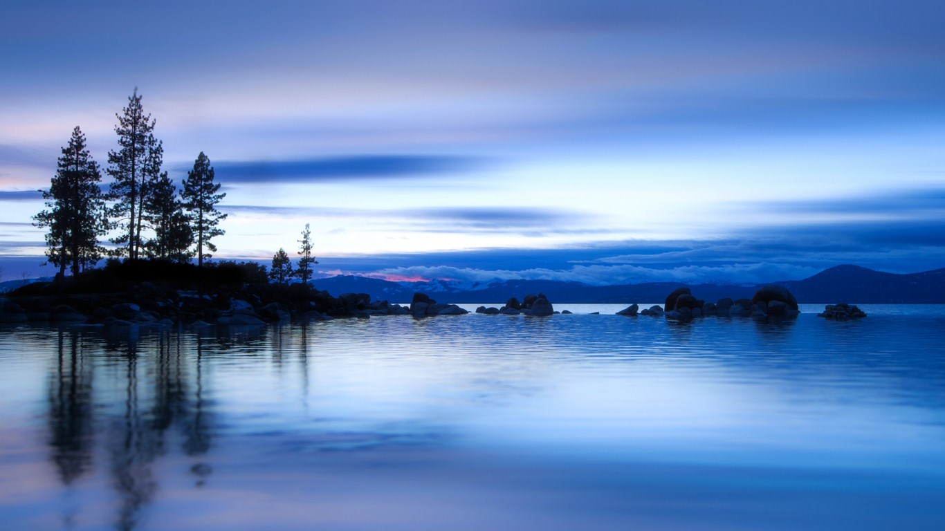 Evening blue river