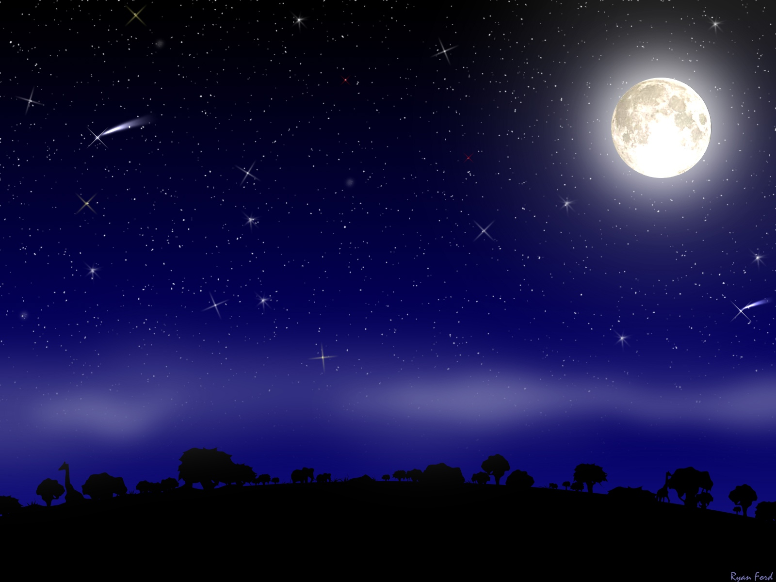 Night and the moon - background for your desktop