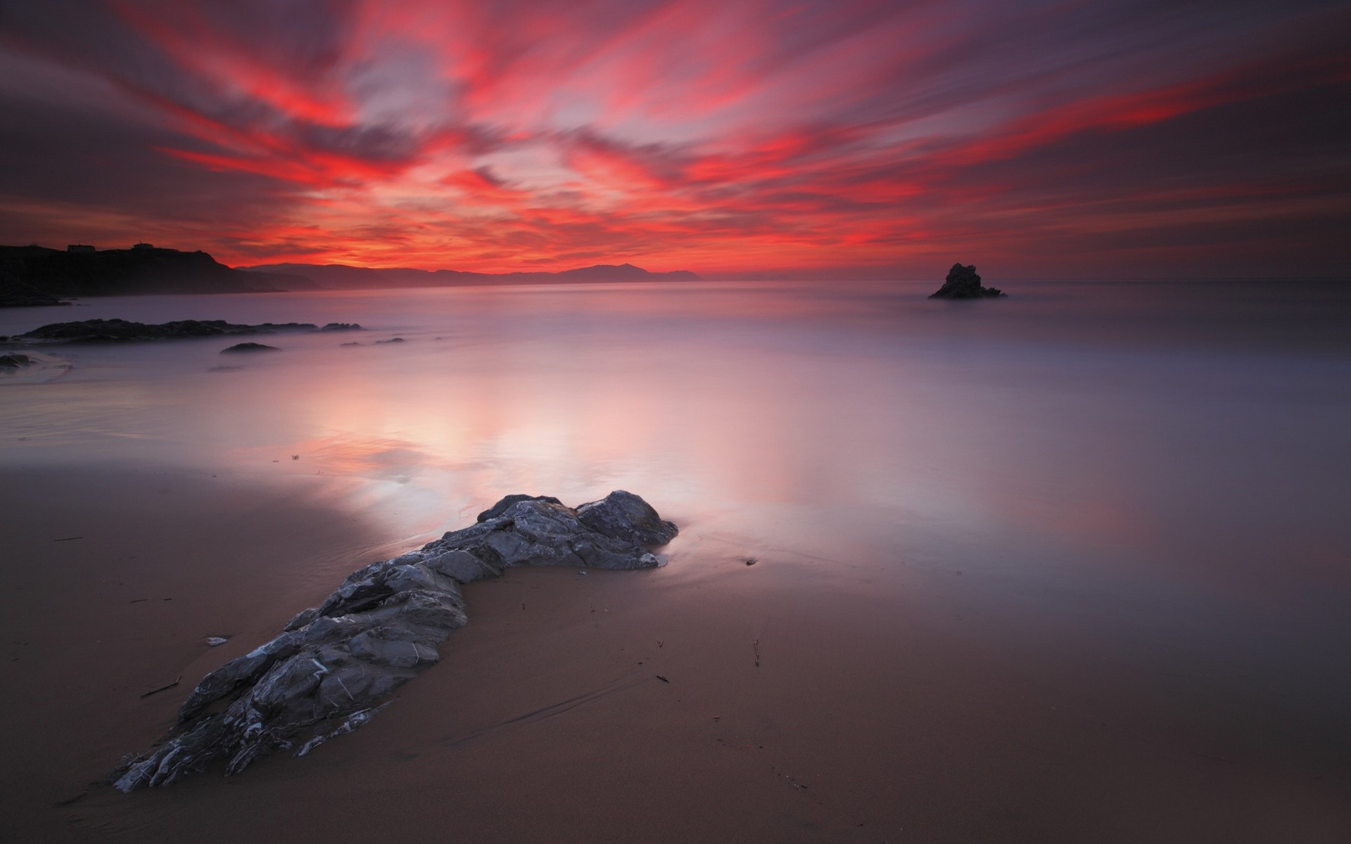 Red sunset over a calm sea