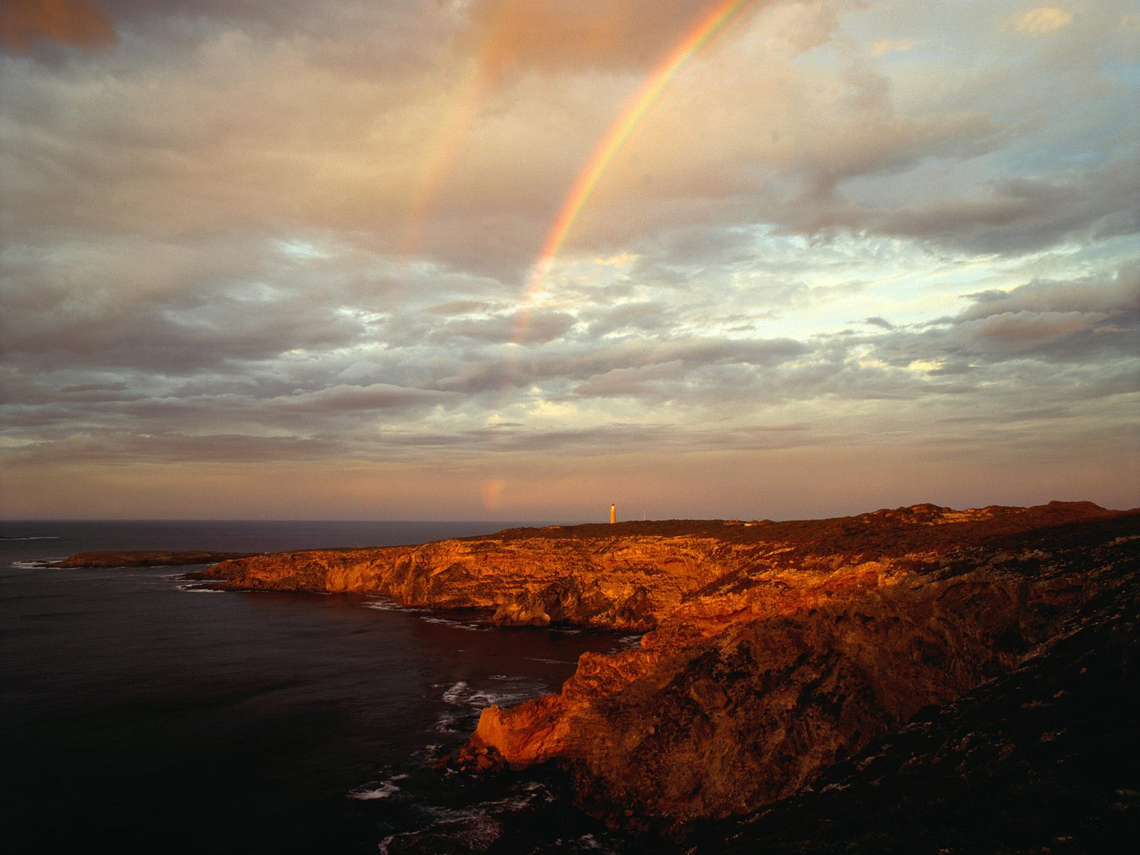 Sky, rainbow and sea - wallpaper, rocky shore