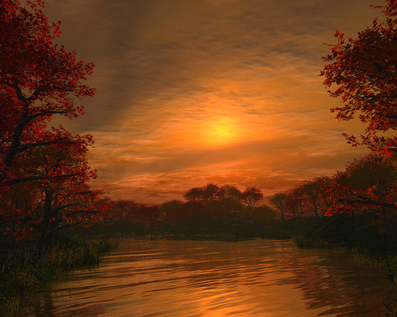 Sunset over the lake - the background for your desktop