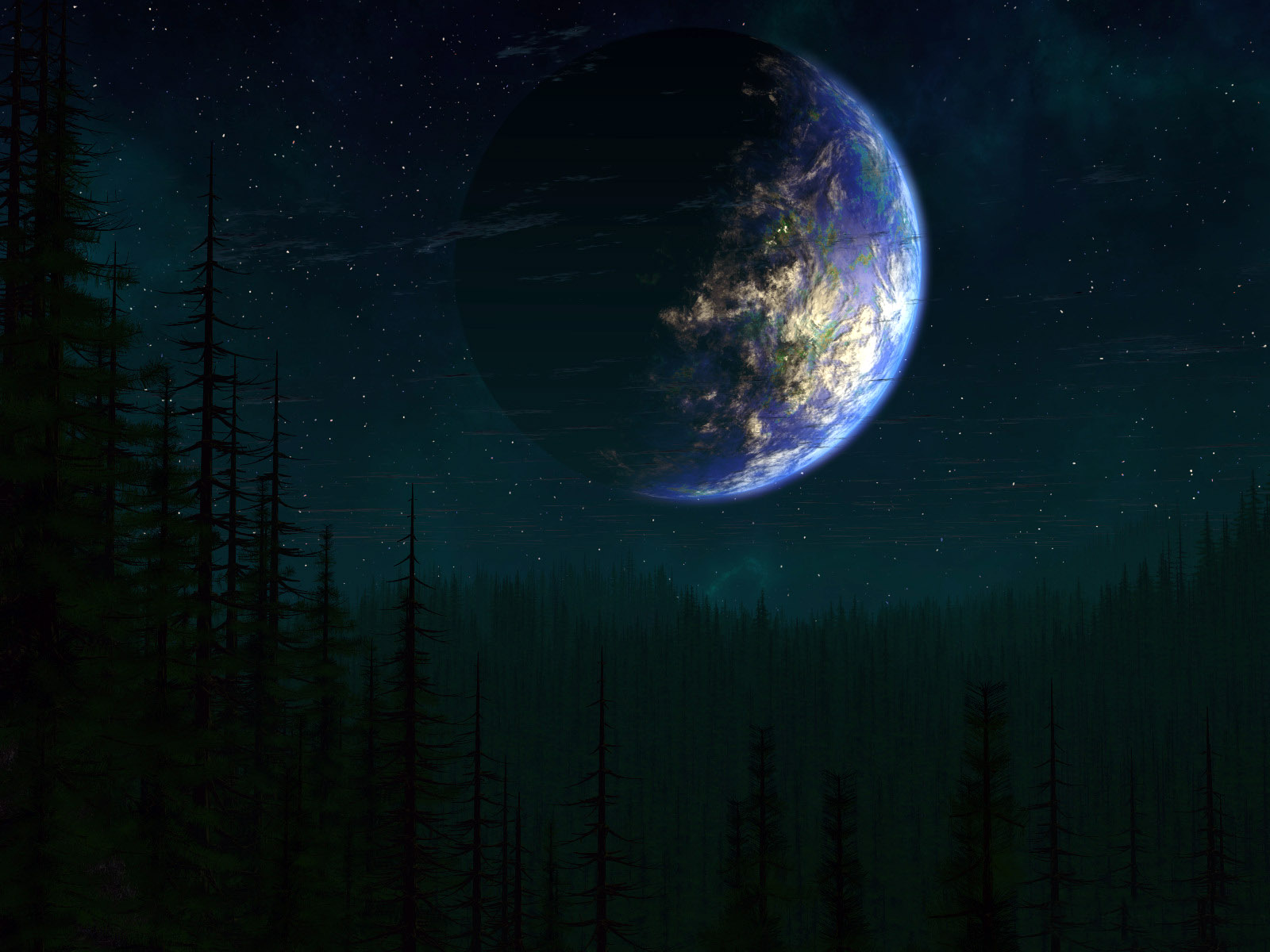 A look at the planet earth from the side, wallpaper of a series of other universes.