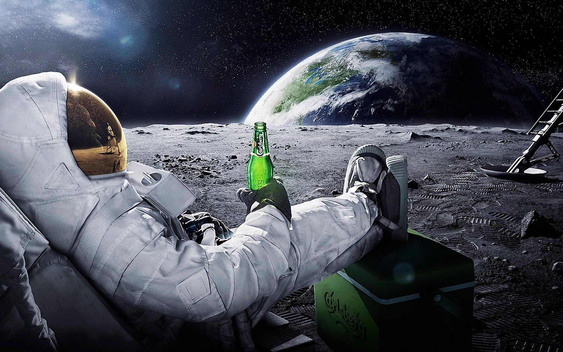 Astronaut with beer