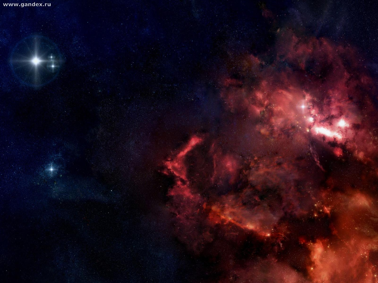Stars and black-and-red phenomena in space, wallpaper