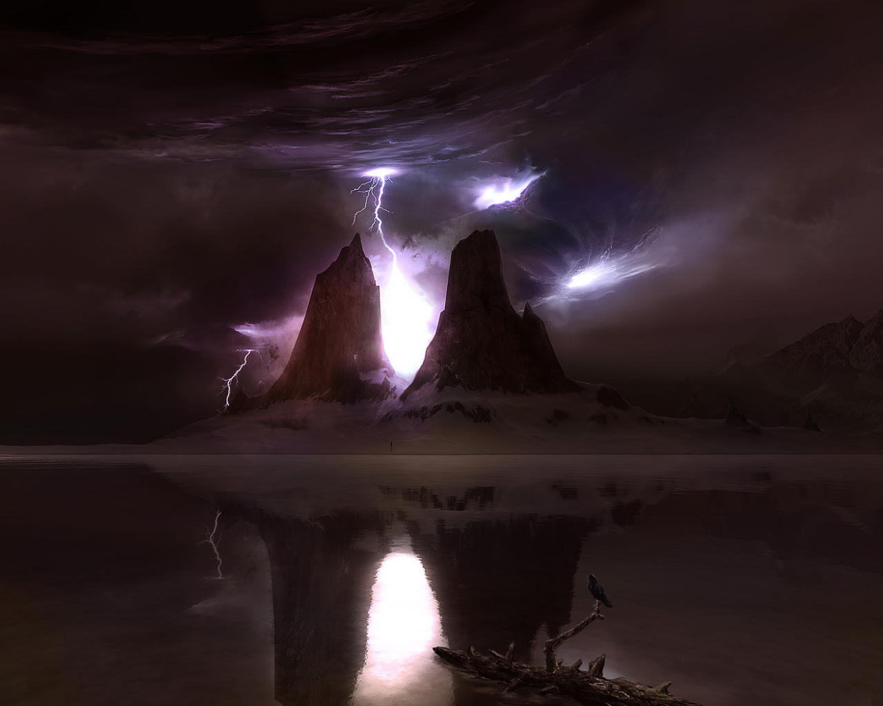 Stormy sky and lightning on a mysterious planet