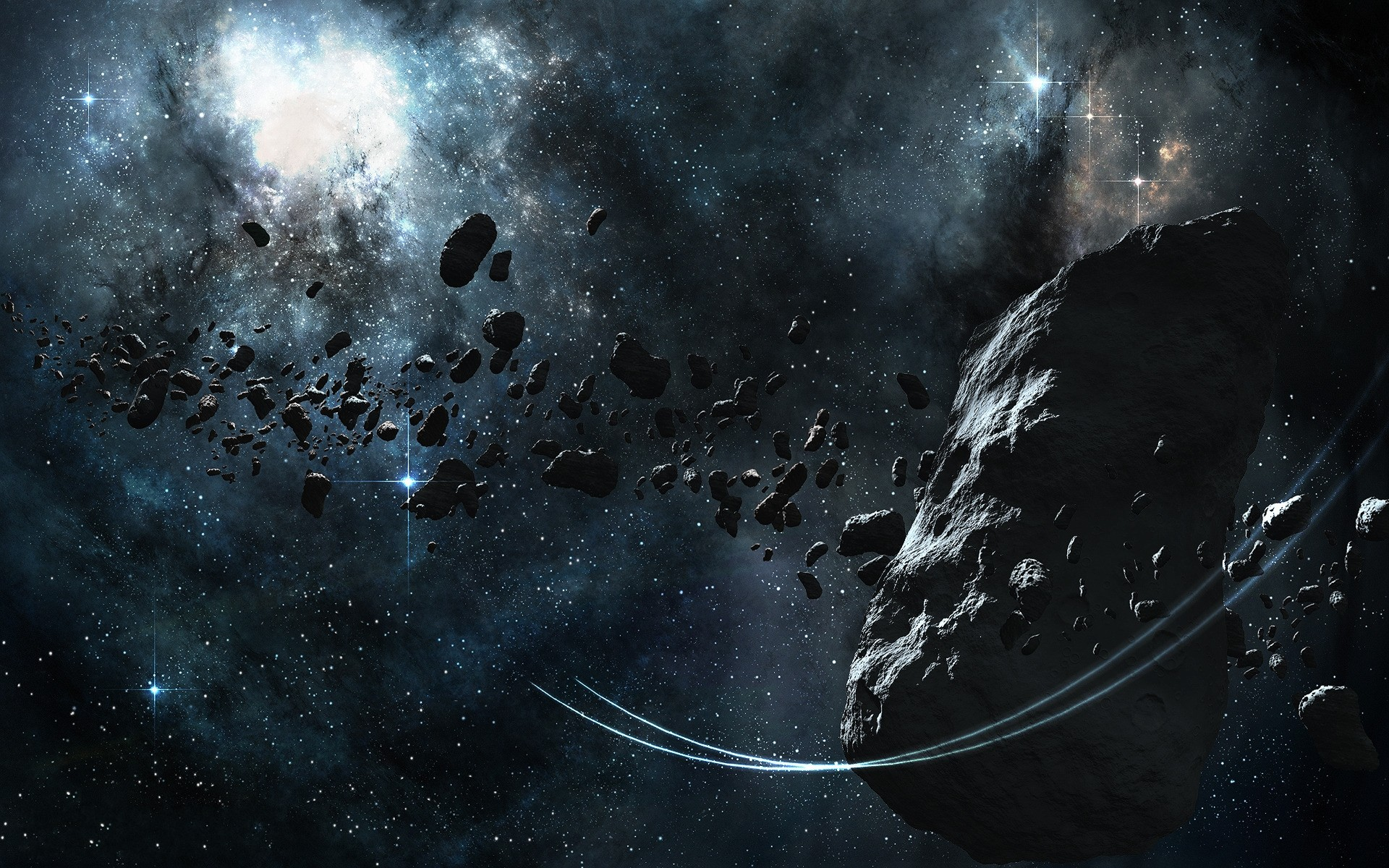 Download Wallpaper The asteroid belt - 1920x1200