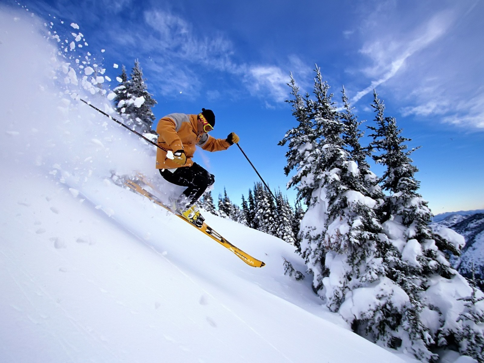 Downhill skier in the mountains