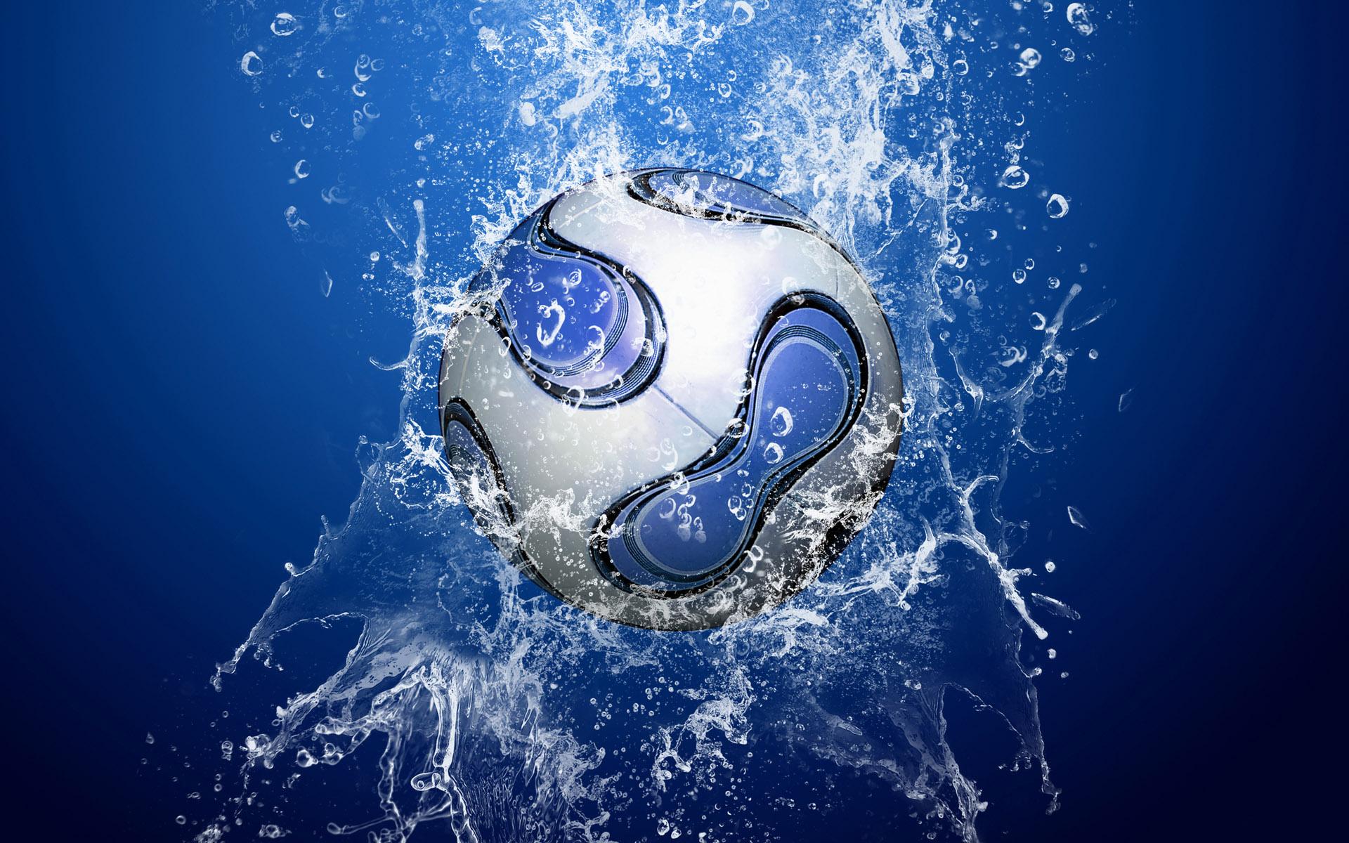Soccer ball in the water jet